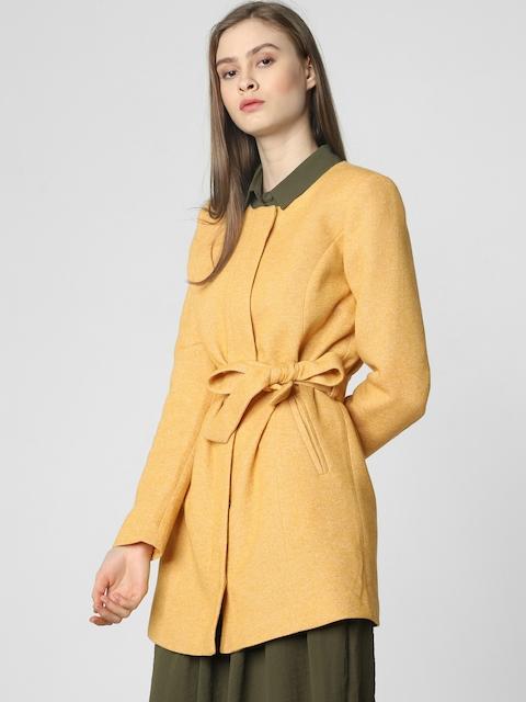 Vero Moda Women Mustard Yellow Self-Design Overcoat