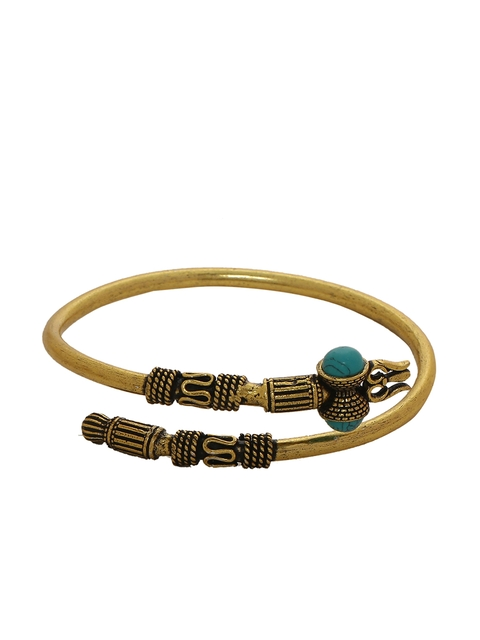 Dare by Voylla Men Brass-Plated Gold-Toned Handcrafted Kada Bracelet