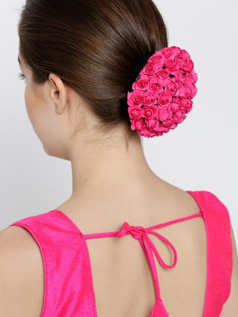 Priyaasi Pink Floral Hair Bun Cover