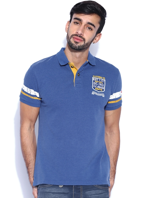 Being Human Clothing Blue Polo T-shirt