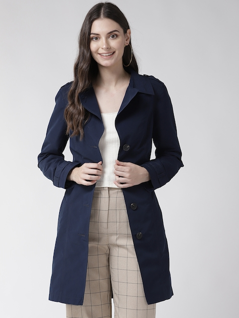 Marks & Spencer Women Navy Blue Solid Stormwear Longline Trench Coat