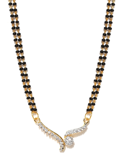 Sukkhi Black & Gold-Toned CZ Stone-Studded Mangalsutra