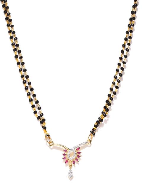 Sukkhi Black Gold-Plated CZ Stone-Studded Mangalsutra