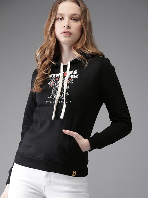 Campus Sutra Women Black Printed Hooded Sweatshirt