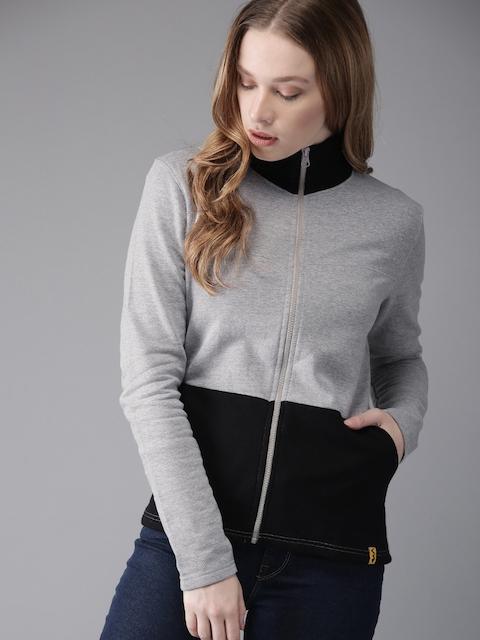 Campus Sutra Women Grey Melange & Black Colourblocked Sweatshirt