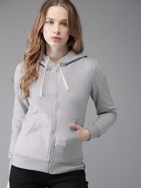 Campus Sutra Women Grey Melange Solid Hooded Sweatshirt