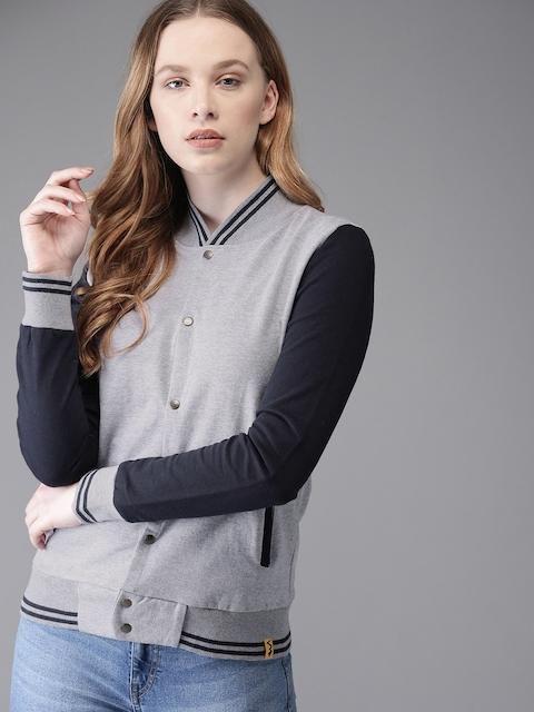 Campus Sutra Women Grey Melange Solid Sweatshirt