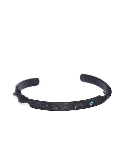 Peora Men Black Stainless Steel Cuff Bracelet