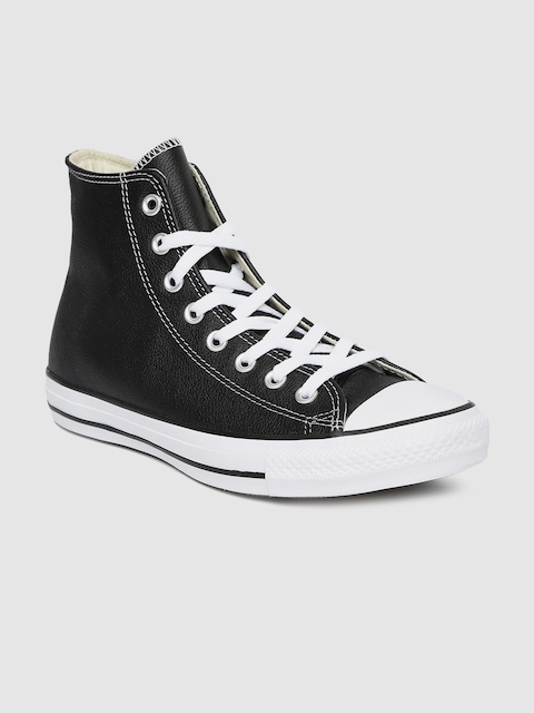Converse Unisex Black Solid Leather Mid-Top Sneakers