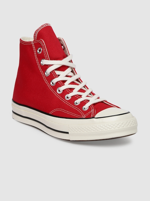 Converse Unisex Red Solid Mid-Top Sneakers