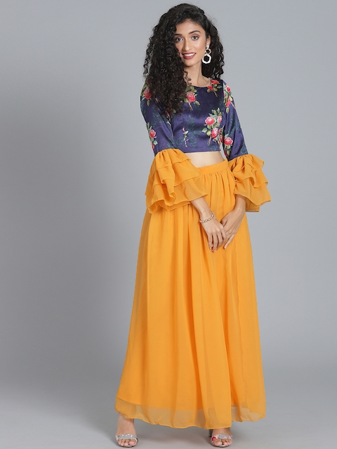 Bollywood Vogue Navy Blue & Mustard Yellow Made to Measure Printed Lehenga with Blouse
