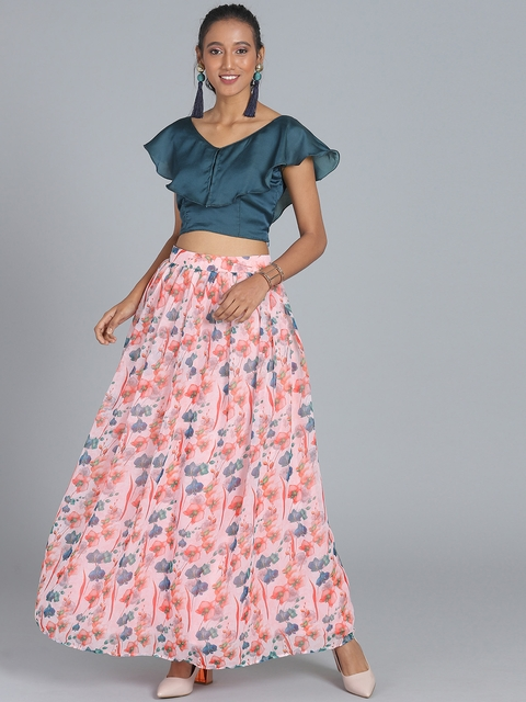 Bollywood Vogue Teal Blue & Pink Made to Measure Printed Lehenga with Blouse