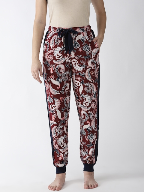 Marks & Spencer Women Maroon & Off White Printed Lounge Pants