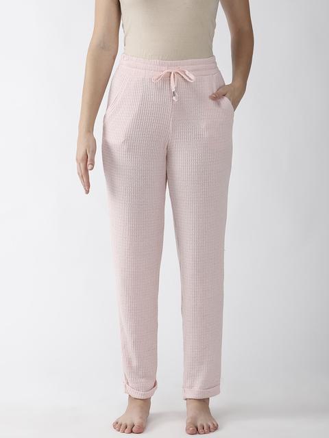 Marks & Spencer Women Pink Self Design Lounge Pants
