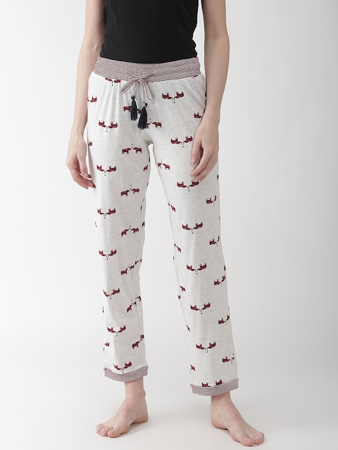 Marks & Spencer Women Off-White & Maroon Printed Lounge Pants