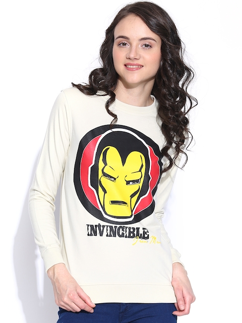 Kook N Keech Marvel Women Cream-Coloured Iron Man Print Sweatshirt