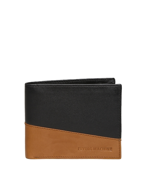 Flying Machine Men Black & Brown Leather Wallet