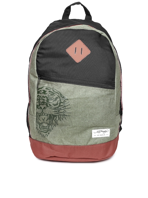 Ed Hardy Unisex Black & Olive Green Backpack  available at myntra for Rs.1899