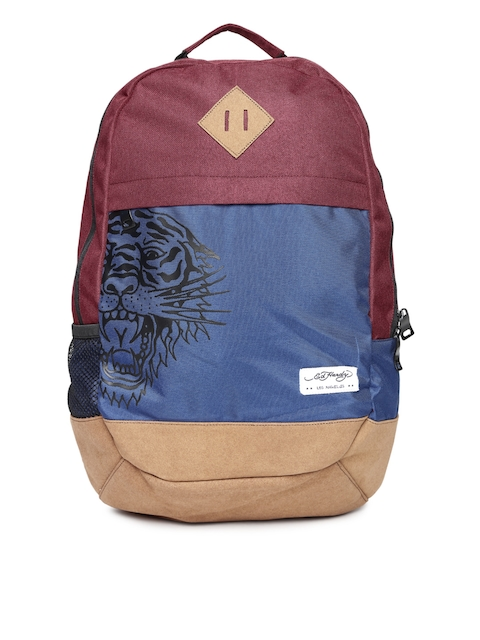 Ed Hardy Unisex Maroon & Navy Backpack  available at myntra for Rs.2099