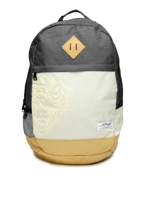 Ed Hardy Unisex Grey & Cream-Coloured Backpack  available at myntra for Rs.2099