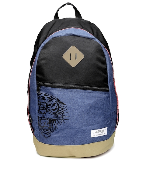 Ed Hardy Unisex Blue & Black Backpack  available at myntra for Rs.2099