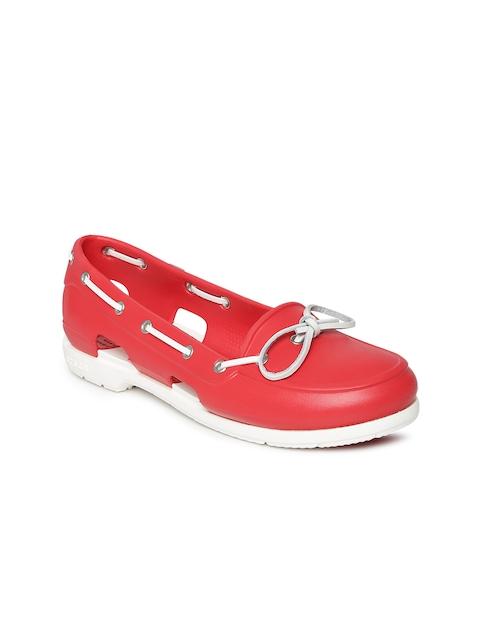 Crocs Women Red Beach Line Boat Shoes