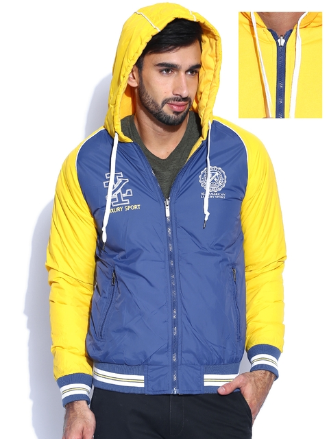 IZOD Navy & Yellow Hooded Reversible Jacket