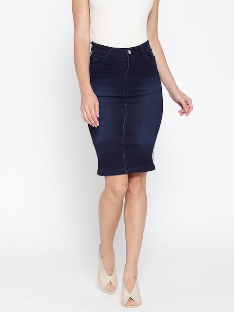 Purple Feather Women Navy Blue Washed Denim Pencil Skirt