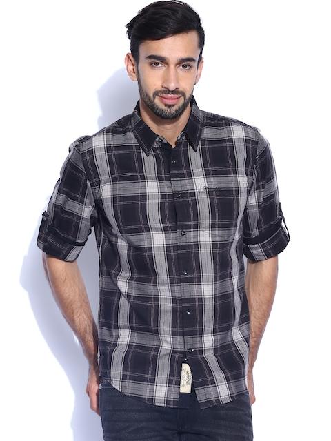Wrangler Black & Grey Checked Casual Shirt