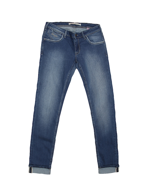 Wrangler Women Blue Tapered Fit Low-Rise Clean Look Stretchable Jeans