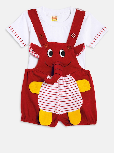 Tinchuk Unisex Red & White Solid T-shirt with Dungaree