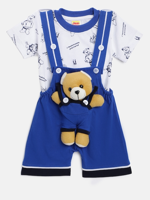 Tinchuk Kids Blue & White Printed Dungaree with T-shirt