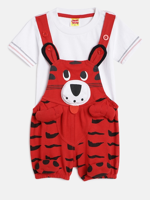Tinchuk Kids Red & White Solid Dungaree with T-shirt
