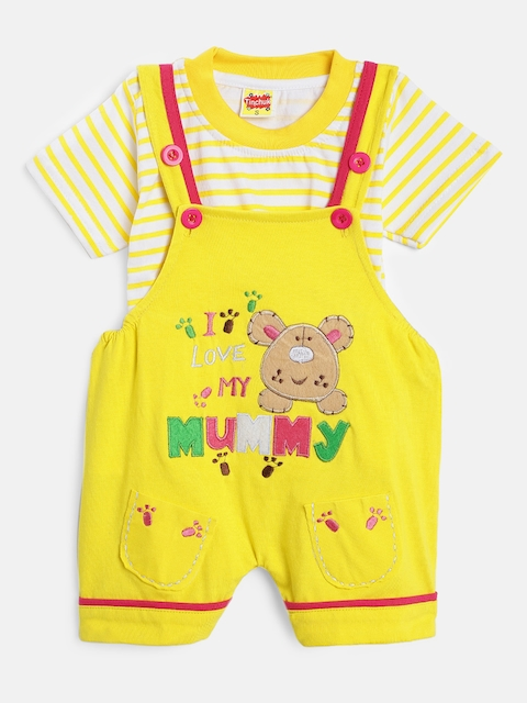Tinchuk Kids Yellow & Off-White Solid Dungaree with T-shirt