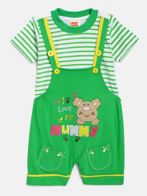 Tinchuk Kids Green & Off-White Solid Dungaree with T-shirt