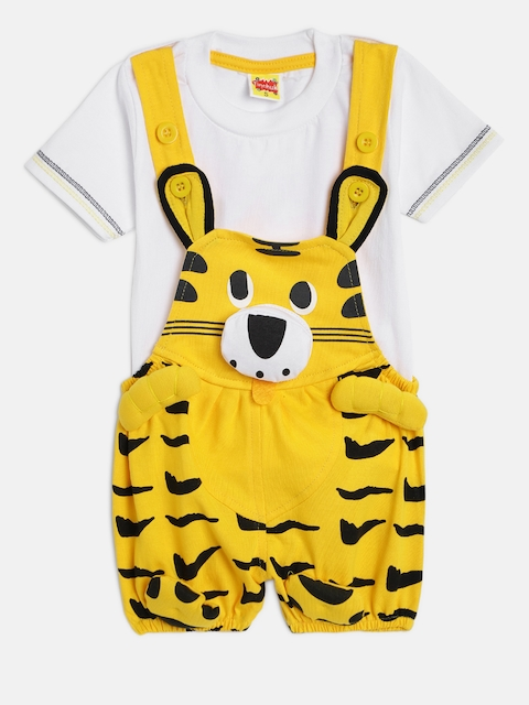 Tinchuk Kids Yellow & White Solid Dungaree with T-shirt