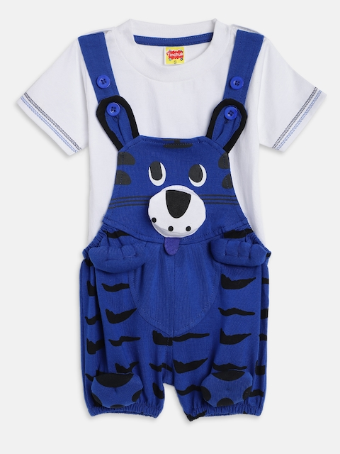 Tinchuk Kids Blue & White Solid Dungaree with T-shirt