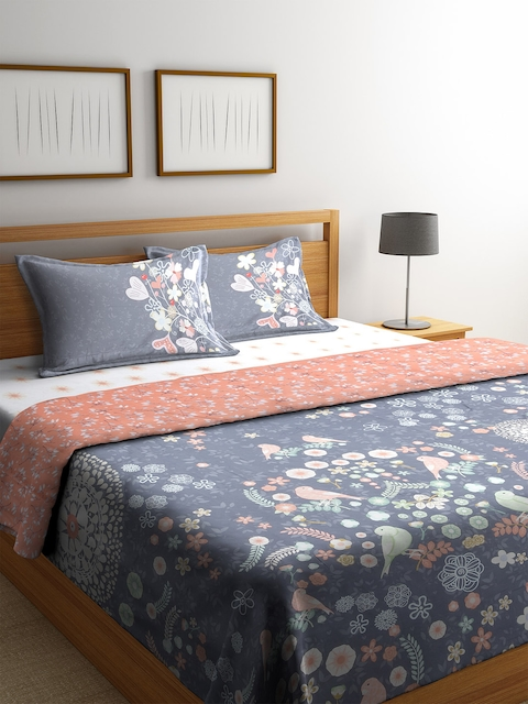 SPACES Grey & Pink Floral Print Bedding Set with Comforter