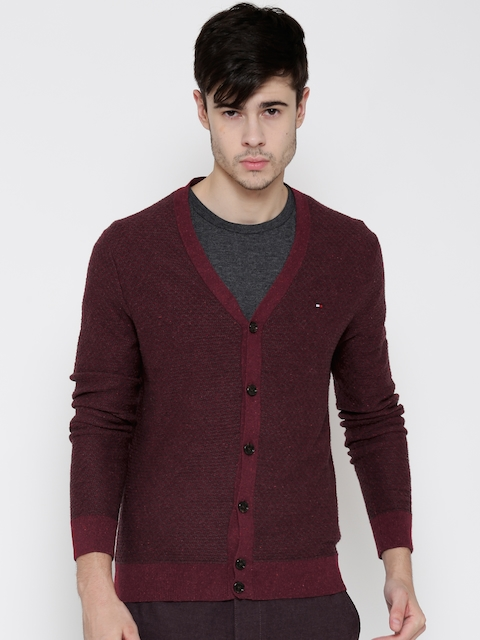 Tommy Hilfiger Men Maroon Patterned Cardigan