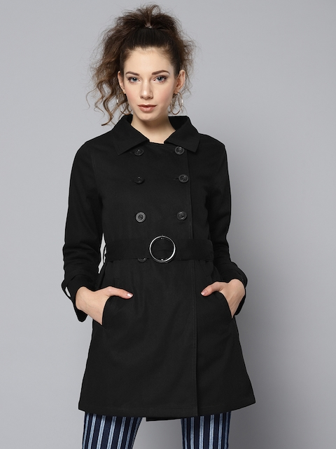STREET 9 Women Black Solid Double Breasted Trench Coat