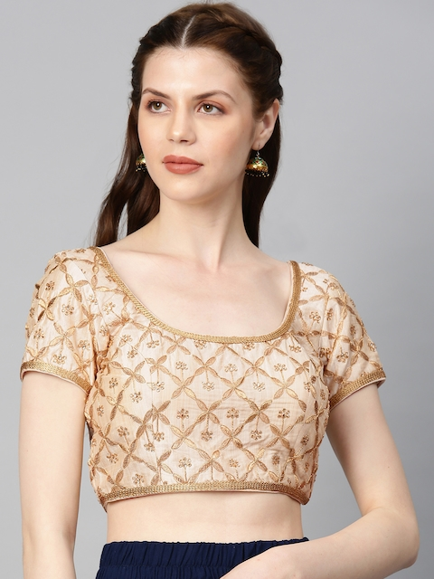 Soch Women Cream & Gold Embellished Art Silk Saree Blouse