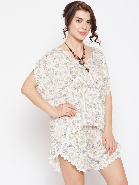 The Kaftan Company Women White Printed Top with Shorts