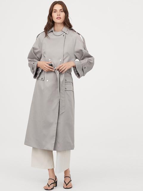 H&M Women Grey Oversized Lyocell Trenchcoat