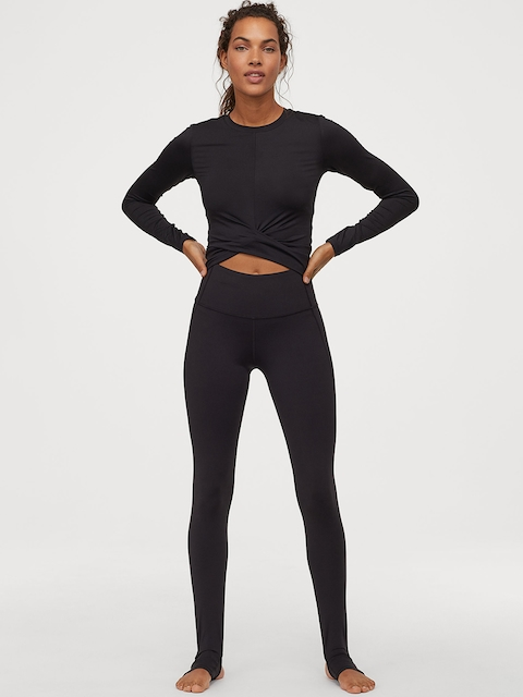 H&M Women Black Yoga Tights High Waist