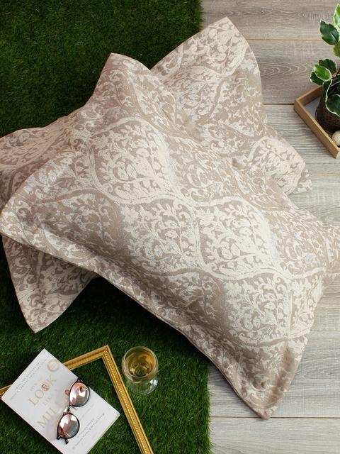 Soumya Set of 2 Beige & White Self-Design 200TC Pillow Covers