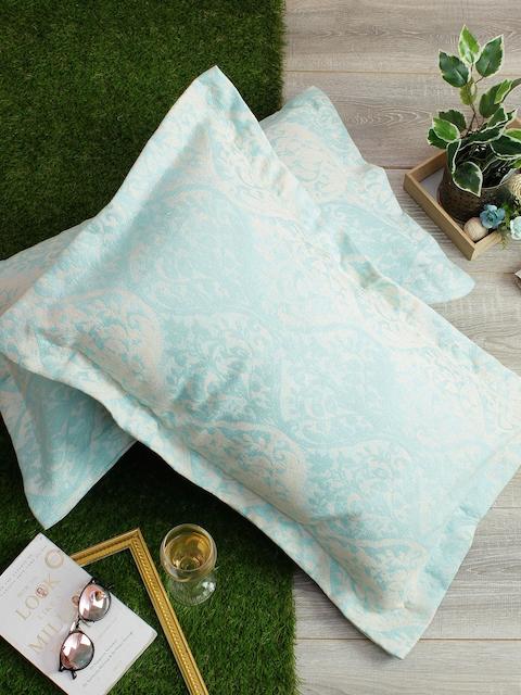 Soumya Set of 2 Blue & White Self-Design 200TC Pillow Covers