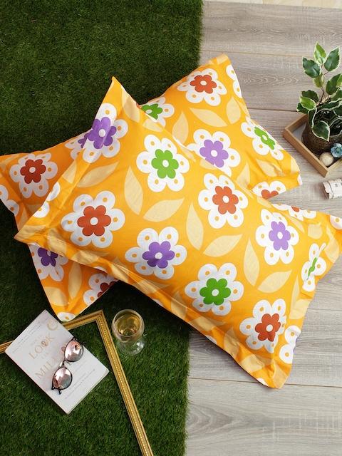 Soumya Set of 2 Multicoloured Floral 200TC Pillow Covers