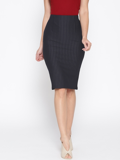 Purple Feather Women Navy Blue & Off-White Striped Pencil Skirt