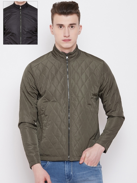 Pierre Carlo Men Olive Green & Black Solid Reversible Quilted Jacket