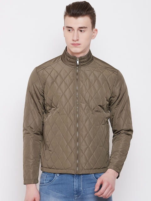 Pierre Carlo Men Olive Green Solid Quilted Jacket